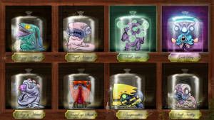 UNCLE HOOFY SASONAX'S BOTTLED ABOMINATIONS Shelf 1 by FLUMPCOMIX