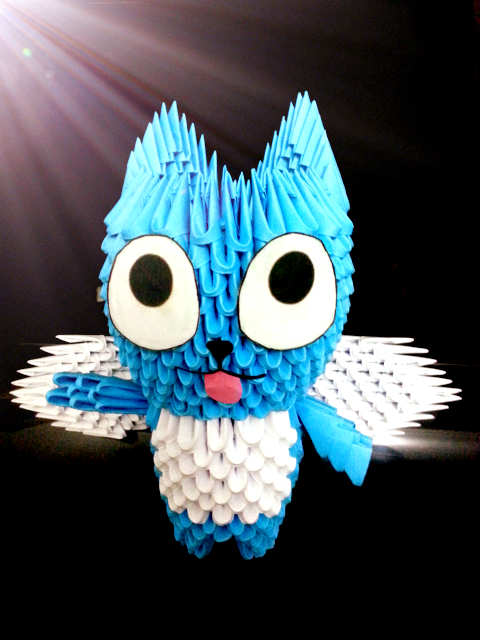 Happy (Fairy Tail) 3d Origami by meshell1129