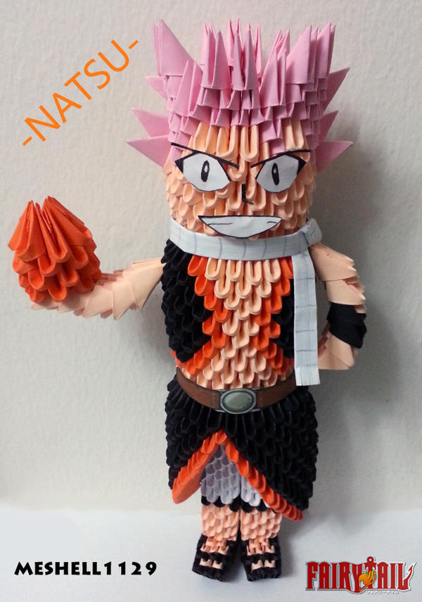 Natsu Dragneel 3D Origami by meshell1129