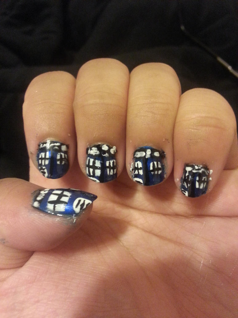 Doctor Who TARDIS nails by princesseru10 on DeviantArt