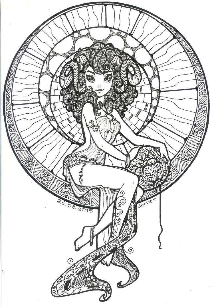 Capricorn zentangle by demetkilic on deviantart for Capricorn coloring pages