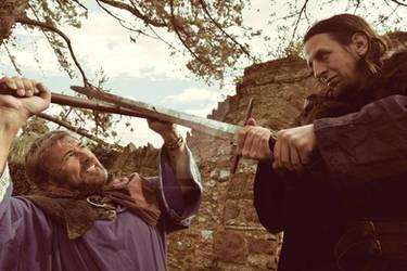Mordred confronts a bandit