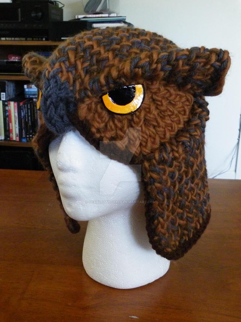 Knitting Pattern Owl Beanie : Owl Hat by ScarlettRoyale on DeviantArt