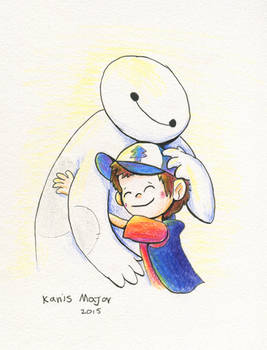 Dipper cuddles Baymax - Commission