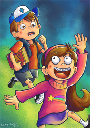 Dipper and Mabel - Commission