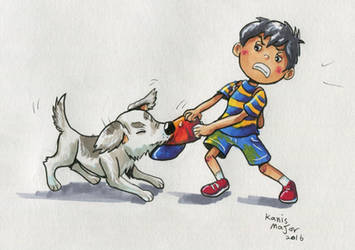 Ness and his dog, King - Art trade by Kosmotiel