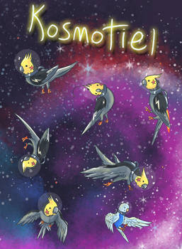 Cockatiels floating in space doing nothing
