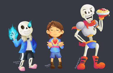 Skelebros and Frisk - Undertale by Kosmotiel