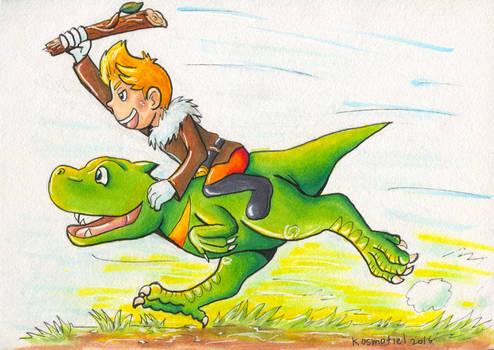 Lucas Riding a Drago - Art Trade by Kosmotiel