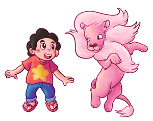 Steven and his Lion - Sticker/magnet designs