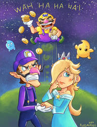 Waluigi and Rosalina's Night Out - Gift by Kosmotiel