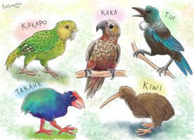 New Zealand Birds by Kosmotiel