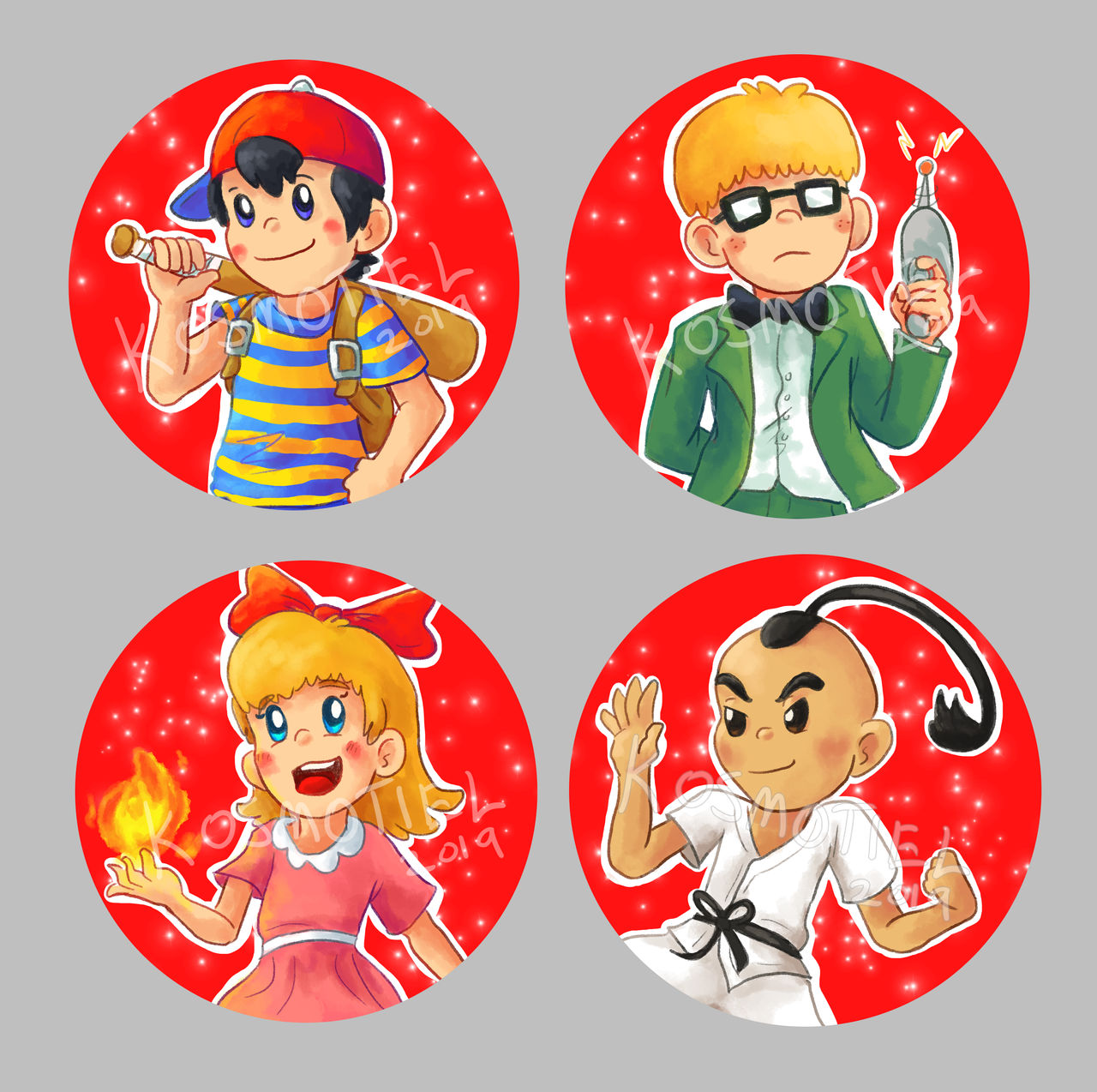 Earthbound Buttons by Kosmotiel