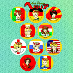 hetalia button set by Tsukiten