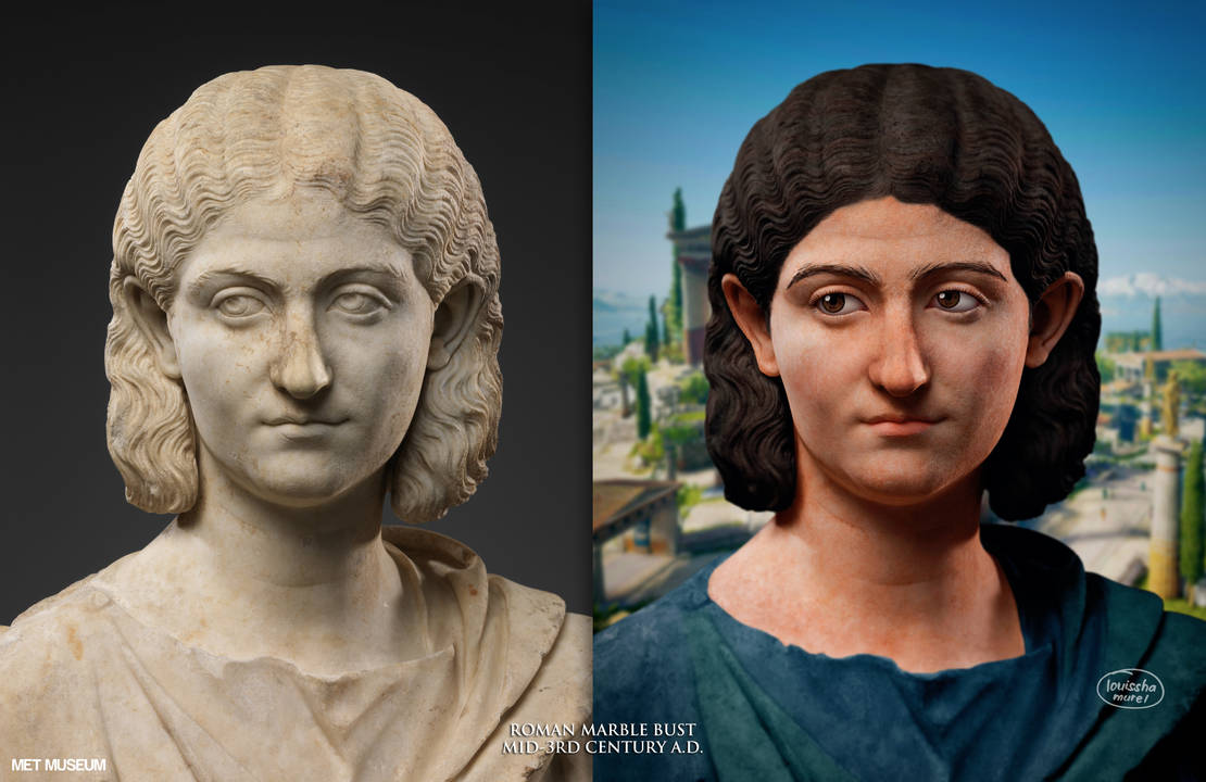 Colorized marble bust of a woman, Roman, 300 A.D.