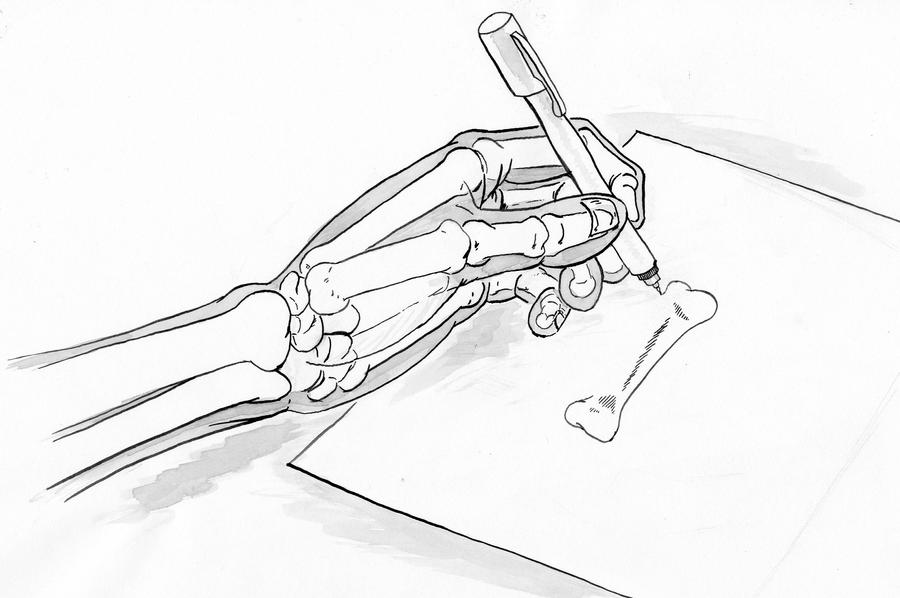 Skeletal Hand Drawing by Rankenphile