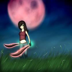 Crimson red moon