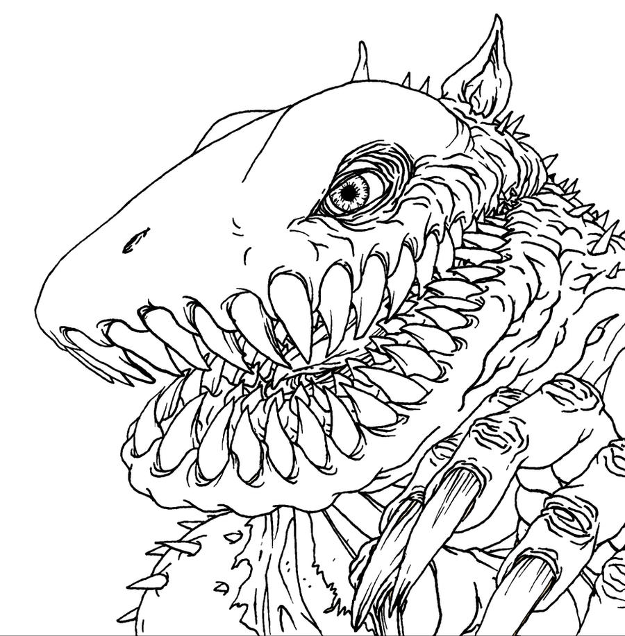 Line Drawing Monster : Monster line art by quasilucid on deviantart