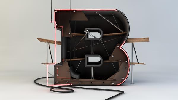 3D typography by kadayoub