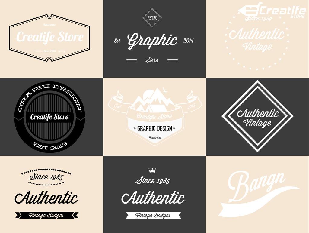 9 Retro Vintage Logos Badges Free Psd By Kadayoub