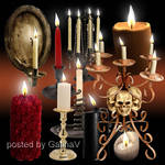 PSD Clipart Candles and Candelabrums