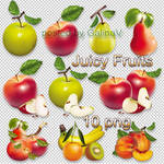 Clipart Juicy Fruits on transparent background