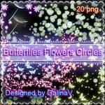 Butterflies, Flowers, Circles with shining effect