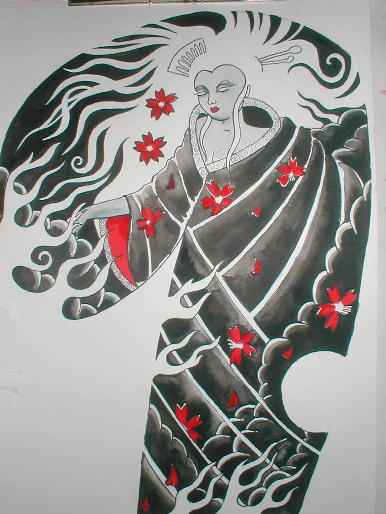 Black And Grey Geisha Half Arm By Violet Grimm On Deviantart