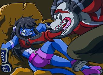 Mitsuko vs Rexnarok by neyola298