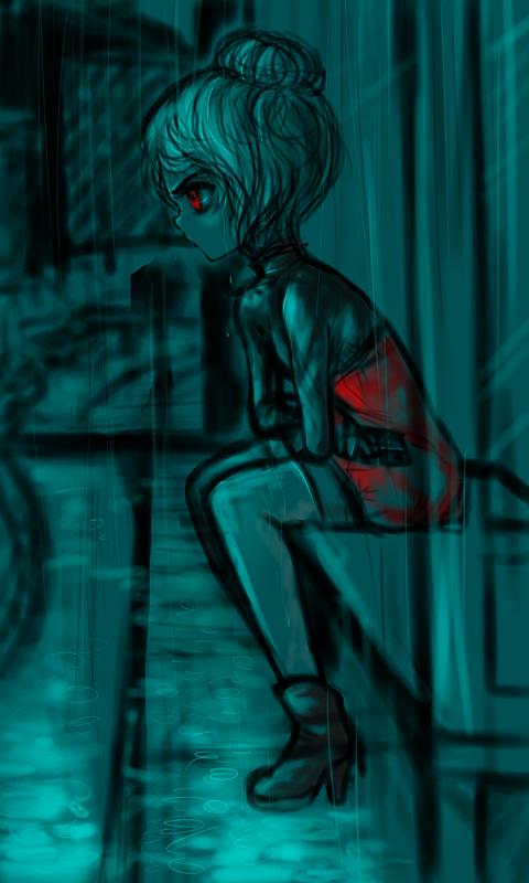 Red Rain - Doodle by BlueRoseArkelle