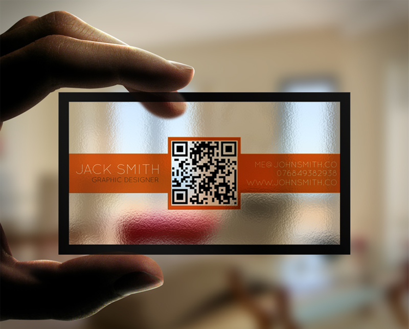 Creative Transparent Business Cards With QR Code