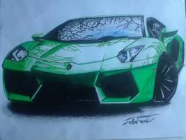 Green Lamborghini aventador by captaincrunch1950