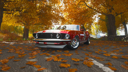 69 Ford Mustang Boss under the trees by captaincrunch1950