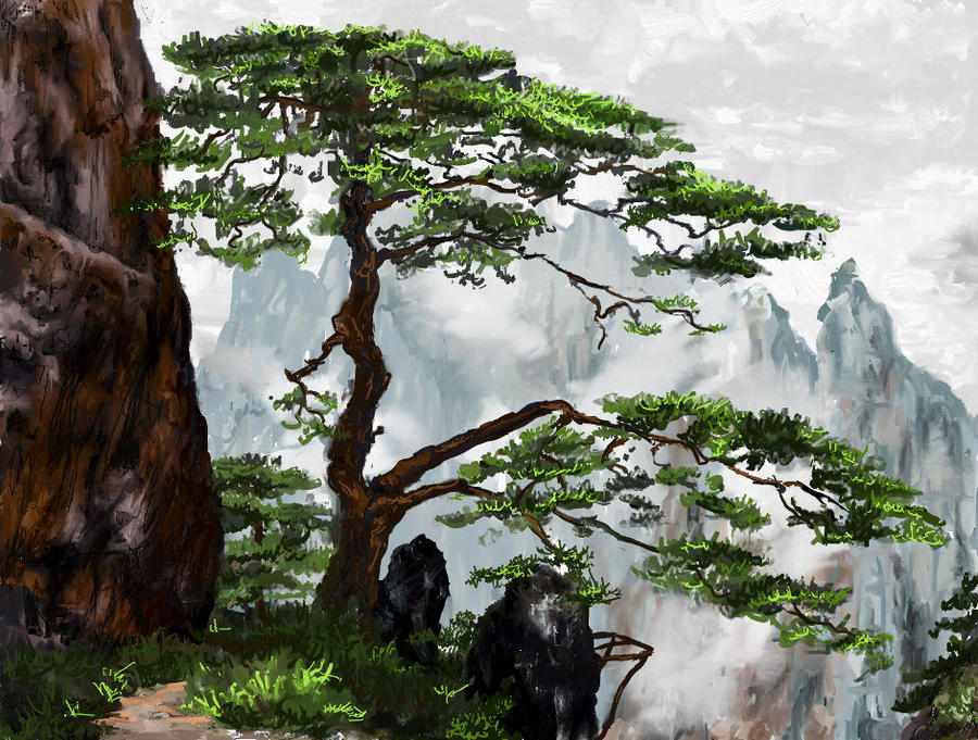 Chinese Mountain Overlook By AnneDiamond On DeviantArt Painting Wallpaper