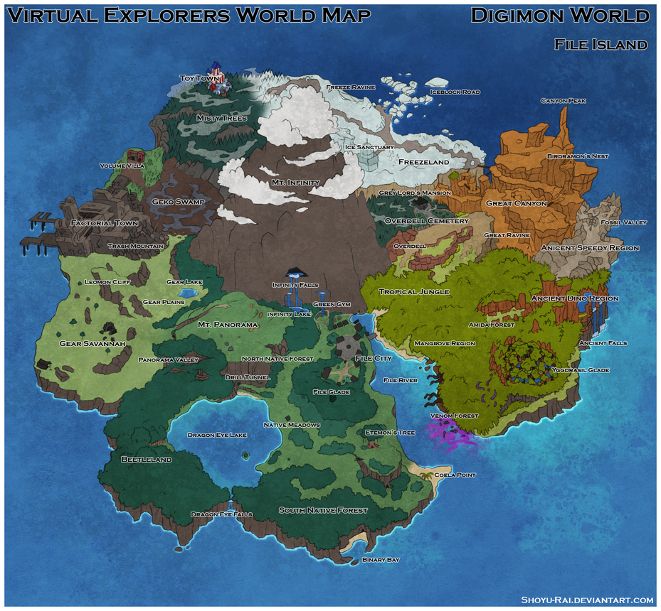 Virtual Explorers - File Island world map by Shoyu-Rai