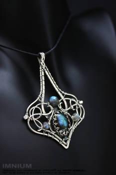 Labradorite and diamond pendant