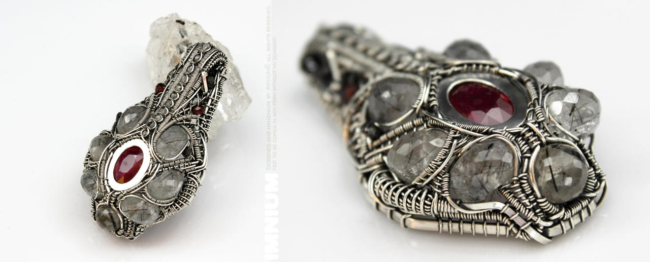 Blood and diamonds pendant by IMNIUM