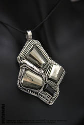 Pyrite and spinel pendant by IMNIUM