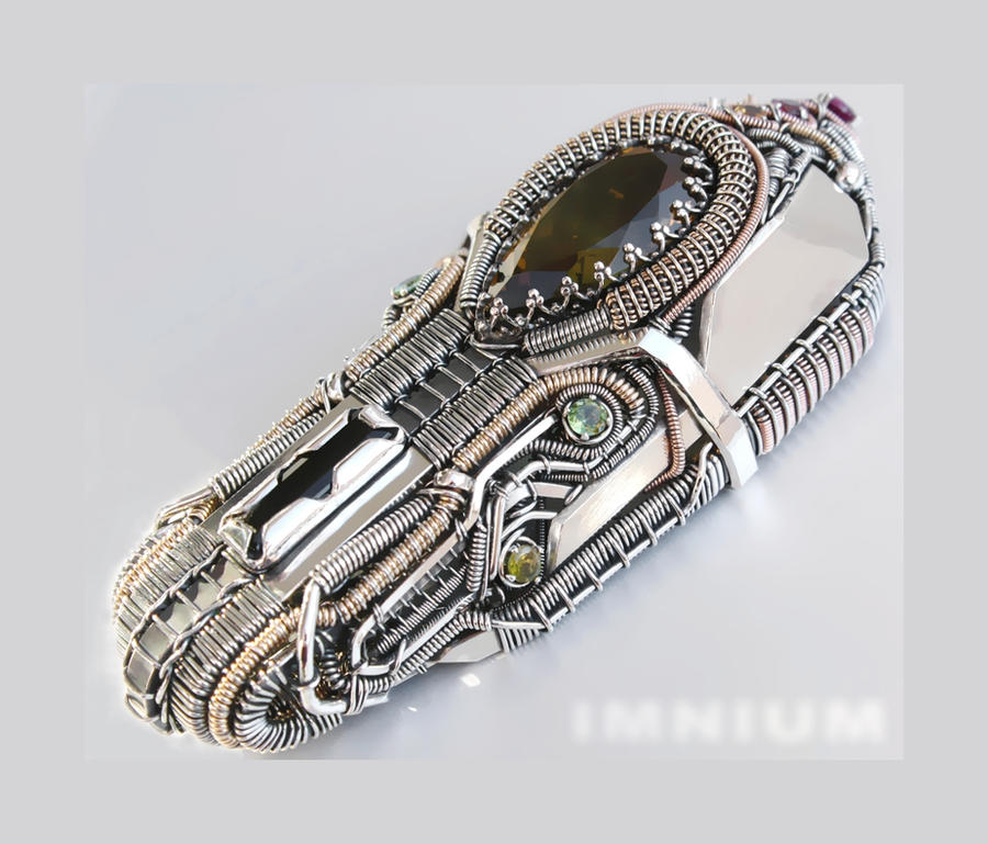 Tourmaline quartz hybrid monster pendant by IMNIUM