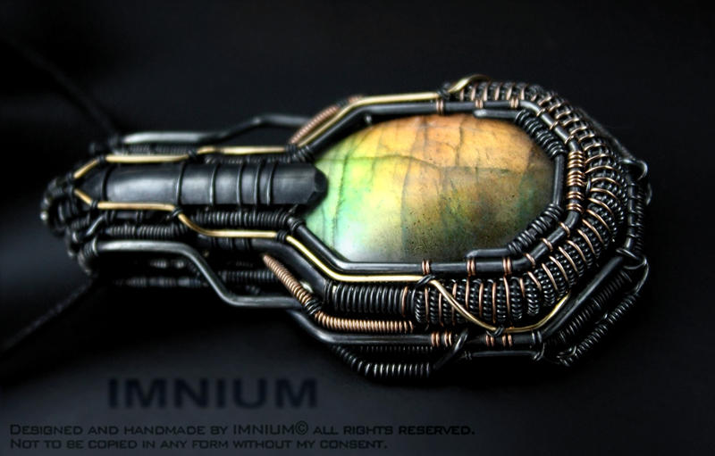 Armored labradorite pendant by IMNIUM