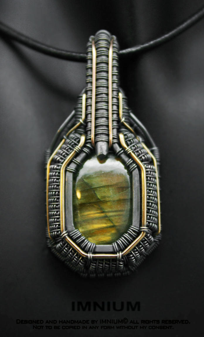 Armored labradorite pendant IV by IMNIUM