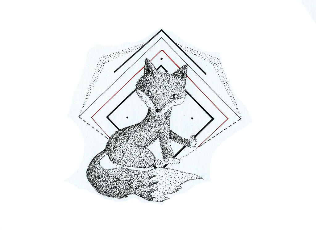Fox - dotwork by Pixie...