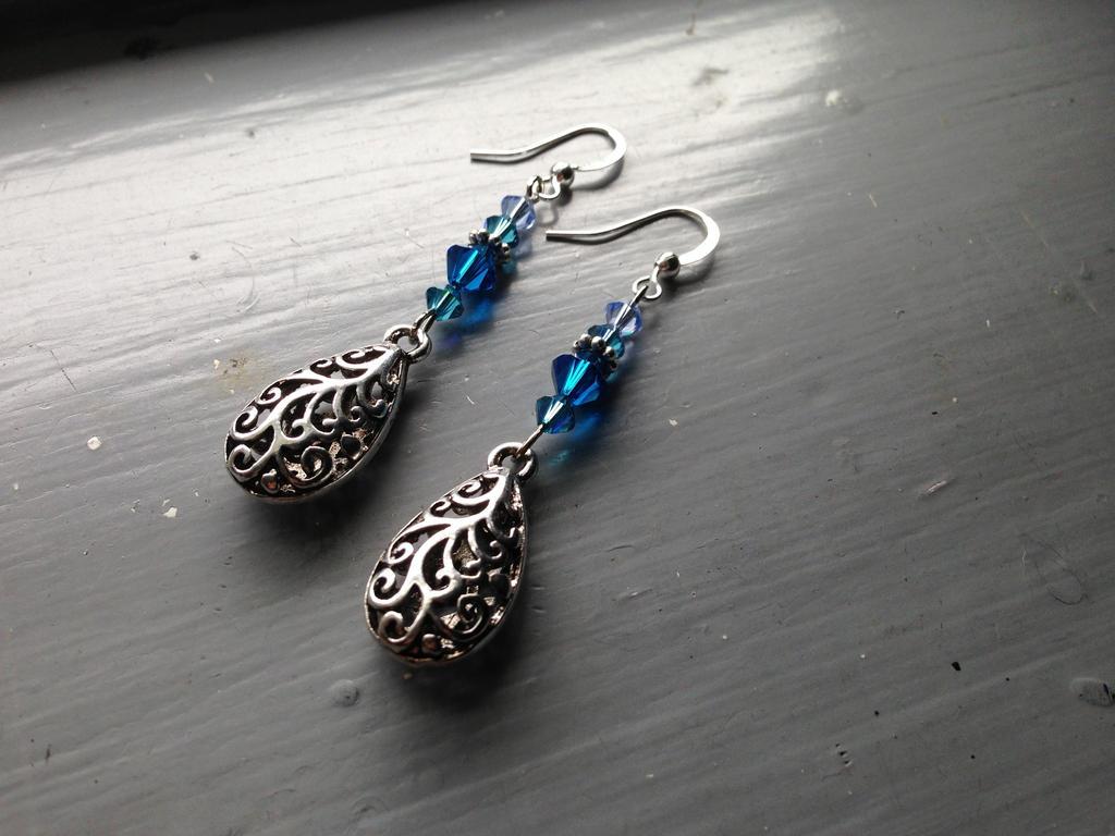 Sapphire Drops of Filigree Swirls by NikidaEve
