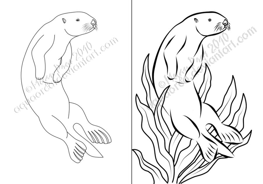 Gallery For gt Otter Outline Drawing