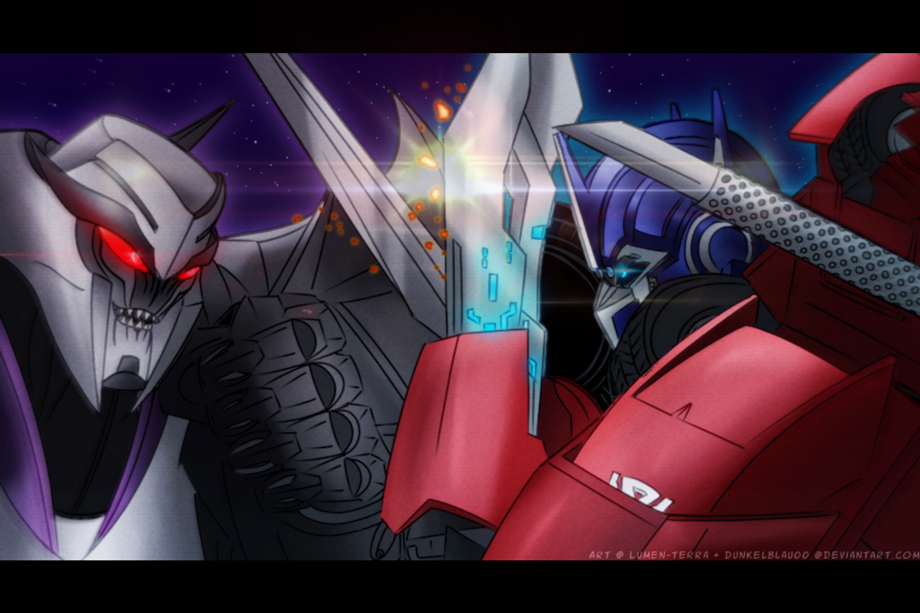 Optimus Vs Megatron ::Collab with dunkelblau:: by Lumen-Terra