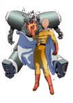 One Punch Man versus robot by papillonstudio