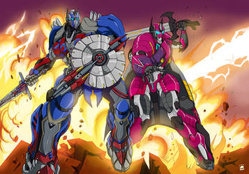 Optimus And Rixia by papillonstudio