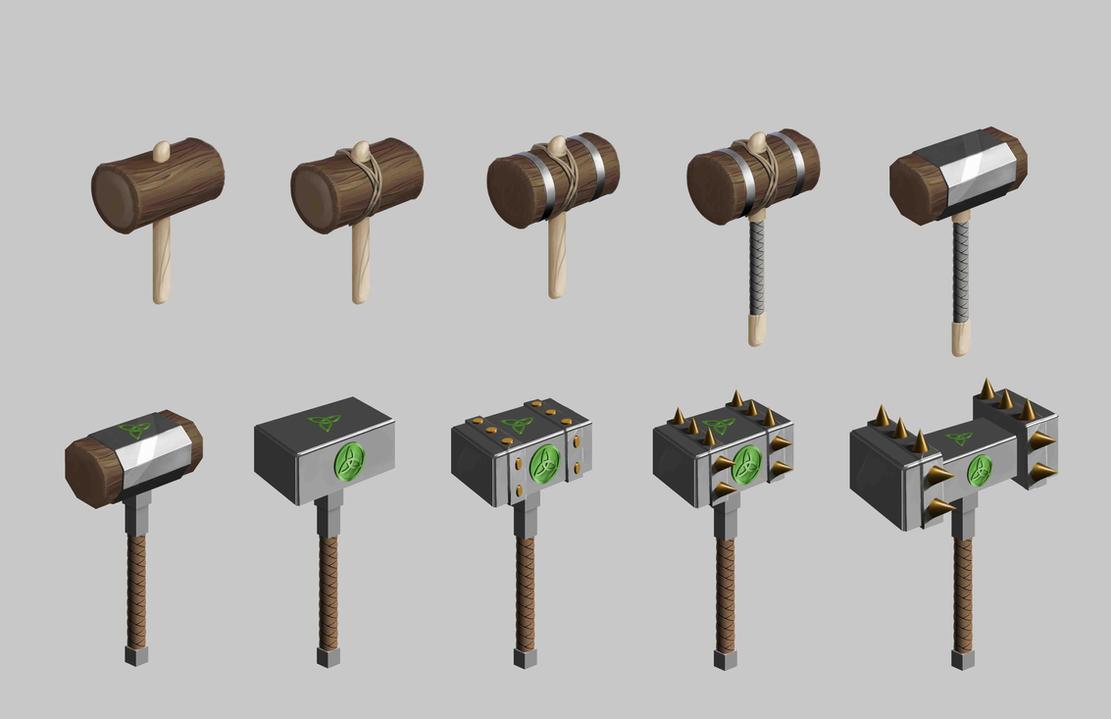 Weapon level : Wooden hamer - Iron hammer by papillonstudio