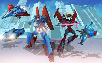 COMMISSION: Transformers: Windblade and Zephyrline by papillonstudio