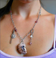 Pink and Black Seashell Charm Necklace by amberdaughterofeve